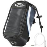 Tectake Fahrradtasche mit Rahmen Befestigung für Smartphones schwarz grau blau 18 x 8 5 x 8 5 cm