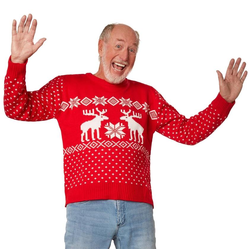 Tectake Weihnachtspullover Schneegestöber rot weiß
