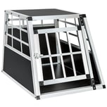 Tectake Hundetransportbox single mit gerader Rückwand 54 x 69 x 50 cm