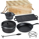 Tectake Dutch Oven Set aus Gusseisen in Holzkiste 9 tlg schwarz
