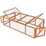 Tectake Kaninchenstall mit 4 Türen 181x90x48cm braun