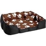 Tectake Hundebett mit Decke und Kissen 110 x 90 cm braun schwarz weiß