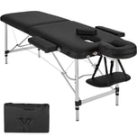 Tectake 2 Zonen Massageliege mit Polsterung und Aluminumgestell schwarz