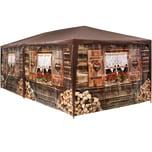 Tectake Garten Pavillon 6x3m Almhütte mit 6 Seitenteilen braun