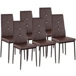 Tectake 6 Esszimmerstühle Kunstleder mit Glitzersteinen braun