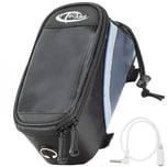 Tectake Fahrradtasche mit Rahmen Befestigung für Smartphones schwarz grau blau 20 x 9 5 x 10 cm