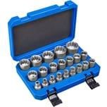 Tectake Außen Vielzahn Steckschlüsselsatz 21 tlg blau