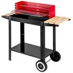 Tectake Holzkohlegrill Grillwagen schwarz rot