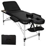 Tectake 3 Zonen Massageliege mit 5cm Polsterung und Aluminiumgestell schwarz