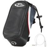 Tectake Fahrradtasche mit Rahmen Befestigung für Smartphones schwarz grau rot 18 x 8 5 x 8 5 cm