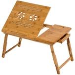 Tectake Laptoptisch aus Holz höhenverstellbar 55x35x26cm braun
