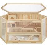 Tectake Hamsterkäfig aus Holz 115x60x58cm braun