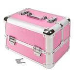 Tectake Kosmetikkoffer mit 4 Ablagefächern rosa