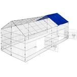 Tectake Freigehege Kaninchen inkl Sonnenschutz 180 x 75 x 75 cm blau