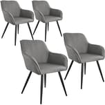 Tectake 4er Set Stuhl Marilyn Leinenoptik schwarze Stuhlbeine hellgrau schwarz