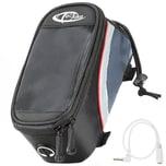 Tectake Fahrradtasche mit Rahmen Befestigung für Smartphones schwarz grau rot 20 x 9 5 x 10 cm