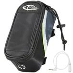 Tectake Fahrradtasche mit Rahmen Befestigung für Smartphones schwarz grau grün 18 x 8 5 x 8 5 cm