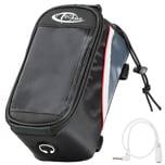 Tectake Fahrradtasche mit Rahmen Befestigung für Smartphones schwarz grau rot 20 5 x 10 x 10 5 cm