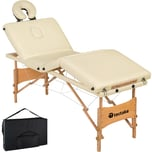 Tectake 4 Zonen Massageliege Kim mit Polsterung und Holzgestell creme