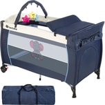 Tectake Kinderreisebett Elefant mit Wickelauflage blau