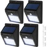 Tectake 4 LED Solar Leuchten mit Bewegungsmelder schwarz