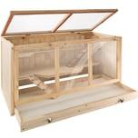 Tectake Nagerkäfig aus Holz 95x50x50cm braun