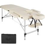 Tectake 2 Zonen Massageliege mit Polsterung und Aluminumgestell beige