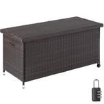 Tectake Auflagenbox Kiruna mit Kunststoffgeflecht 121x56x60cm 270l braun