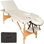 Tectake 3 Zonen Massageliege mit Polsterung und Holzgestell beige