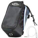 Tectake Fahrradtasche mit Rahmen Befestigung für Smartphones schwarz grau blau 20 5 x 10 x 10 5 cm