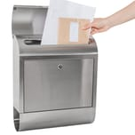 Tectake Edelstahl Briefkasten mit Zeitungsröhre XXL grau