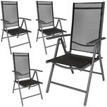 Tectake 4 Aluminium Gartenstühle schwarz anthrazit