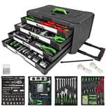 Tectake Trolley Werkzeugkoffer 899 tlg mit 4 Schubladen schwarz