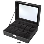 Tectake Uhrenbox mit 10 Fächern inkl Schlüssel schwarz