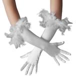 Tectake Lange Satin Handschuhe mit Federn