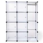 Tectake Steckregal 8 Boxen mit Türen inkl Kleiderstange weiß