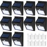 Tectake 10 LED Solar Leuchten mit Bewegungsmelder schwarz