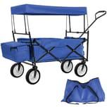 Tectake Faltbarer Bollerwagen mit Dach und Tragetasche blau