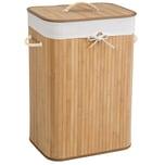 Tectake Wäschekorb mit Wäschesack eckig beige 72 L