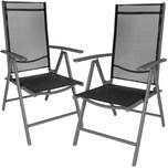 Tectake 2 Aluminium Gartenstühle schwarz anthrazit