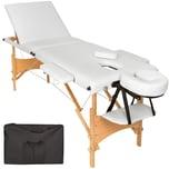 Tectake 3 Zonen Massageliege mit Polsterung und Holzgestell weiß