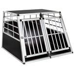 Tectake Hundetransportbox doppel mit gerader Rückwand 97 x 90 x 69 5 cm