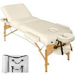 Tectake 3 Zonen Massageliege mit 10cm Polsterung und Holzgestell beige