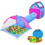 Tectake Spielzelt mit Tunnel 200 Bällen und Tasche blau