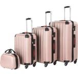 Tectake Hartschalenkoffer und Beauty Case Set 4 tlg roségold