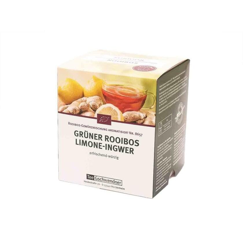 TeeGschwendner Rooibos Limone-Ingwer MasterBag Glas Pyramid Tee BIO 15st, 30g