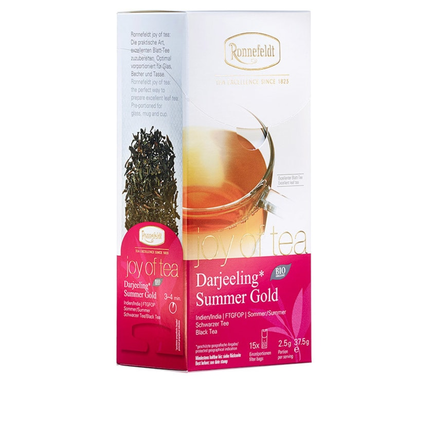 Ronnefeldt Tee Joy of Tea Darjeeling Summer Gold Bio schwarzer Tee 15 Teebeutel (Caddy) 37,5g