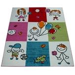 Paco Home Kinderteppich Mädchen Jungen Kinderzimmer Spielteppich Kurzflor Figuren in Creme