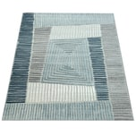 Paco Home In- & Outdoor Terrassen Teppich Geometrisches Design Pastell Türkis Grau Creme