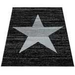 Paco Home Designer Teppich Stern Muster Modern Trendig Kurzflor Meliert In Anthrazit